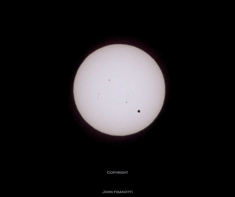 Venus transiting the sun in white (normal, visual) light.