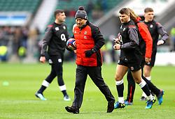 England coach Eddie Jones (centre) prior to the NatWest 6 Nations match at Twickenham Stadium, London.