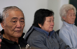 © licensed to London News Pictures. London, UK 07/05/2012. (Left) Loh Ah Choi, (Centre) Chong Koon Ying, (Right) Lim Ah Yin, survivors from Batang Kali massacre at press conference today at Bindmans Office before the official hearing tomorrow for the massacre in Malaysian village in 1948 by British Soldiers. Photo credit: Tolga Akmen/LNP