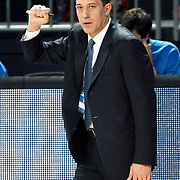 Efes Pilsen's coach Ufuk SARICA during their Turkish Basketball league match Efes Pilsen between Banvit at the Sinan Erdem Arena in Istanbul Turkey on Saturday 02 April 2011. Photo by TURKPIX
