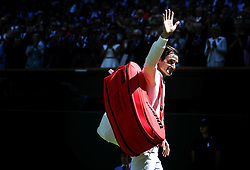 LONDON, July 2, 2018  Roger Federer of Switzerland greets spectators after winning the men's singles first round match against Dusan Lajovic of Serbia at the Championship Wimbledon 2018 in London, Britain, on July 2, 2018. Roger Federer won 3-0. (Credit Image: © Shi Tang/Xinhua via ZUMA Wire)
