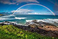 A full double rainbow at Hookipa on Maui's North Shore