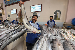 Man holding fish for sale at the Fish market at Souq Sharq in Kuwait City, Kuwait.