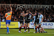 Steffan Jones (10) of the Dragons celebrates after he dives over for the opening try.  Rabodirect pro12, Newport Gwent Dragons v Cardiff Blues at Rodney Parade, Newport,  South Wales on Sat 15th Sept 2012.   pic by  Andrew Orchard, Andrew Orchard sports photography,