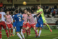 Jamie Jones (Stevenage) tries to get to the cross into the box during the Sky Bet League 2 match between Hartlepool United and Stevenage at Victoria Park, Hartlepool, England on 9 February 2016. Photo by Mark P Doherty.