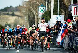 Winner FORTIN Filippo (ITA)  of Tirol Cycling Team celebrates at finish line during the UCI Class 1.2 professional race 4th Grand Prix Izola, on February 26, 2017 in Stunjan, Slovenia. Photo by Vid Ponikvar / Sportida