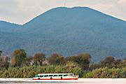 Ferry boats carry tourists on Lake Patzcuaro near Janitzio Island, Michoacan, Mexico.