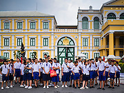 26 FEBRUARY 2017 - BANGKOK, THAILAND:  Students in front of the Ministry of Defense building across from the Grand Palace in Bangkok.        PHOTO BY JACK KURTZ