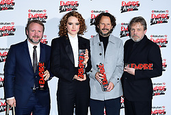 Rian Johnson wins Best Director and Best Film for Star Wars, Daisy Ridley wins the Best Actress Award , producer Ram Bergman and Mark Hamill with his Empire Icon Award at the Rakuten TV Empire Film Awards at the Roundhouse in London.