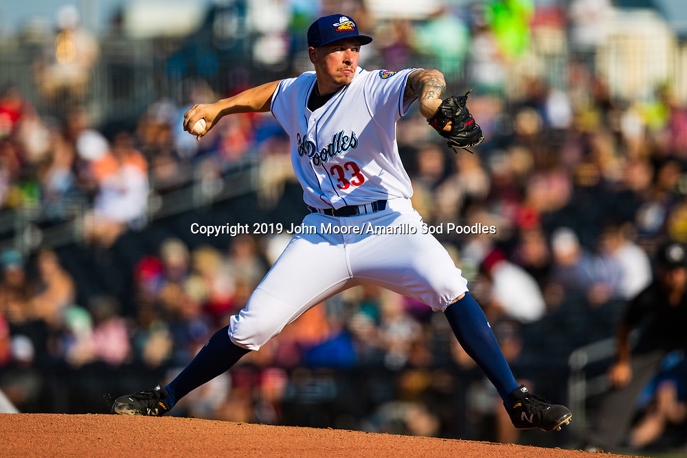 Amarillo Sod Poodles pitcher Lake Bachar (33) pitches against the Frisco RoughRiders on Sunday, Aug. 4, 2019, at HODGETOWN in Amarillo, Texas. [Photo by John Moore/Amarillo Sod Poodles]