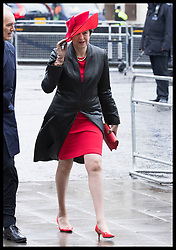 March 12, 2018 - London, London, United Kingdom - Image licensed to i-Images Picture Agency. 12/03/2018. London, United Kingdom. UK Prime Minister Theresa May  arriving at the  Commonwealth Day Service at Westminster Abbey in London. (Credit Image: © Stephen Lock/i-Images via ZUMA Press)
