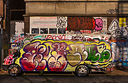 Van covered in graffiti, Corbet Place, during the coronavirus pandemic on the 4th May 2020 in London, United Kingdom.