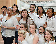 """Town of Wallkill, New York - Members of the cast of """"Mary Poppins"""" from Valley Central High School perform at the Orange County Arts Council All-County High School Musical Showcase and Arts Display at the Galleria at Crystal Run on Feb. 28, 2015. The theme of the event was: """"Arts Build Confidence""""."""