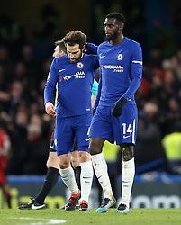Chelsea's Cesc Fabregas (left) appears dejected during the Premier League match at Stamford Bridge, London.