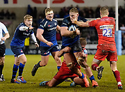 Sale Sharks second-row Jean-Luc Du Preez  drives at Leicester Tigers defence during a Gallagher Premiership Rugby Union match Sale Sharks -V- Leicester Tigers, won by Sale 36-3 Friday, Feb. 21, 2020, in Eccles, United Kingdom. (Steve Flynn/Image of Sport via AP)