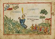 Moses on Mount Sinai from an 18th century Hebrew Manuscript Tefilot u-piyuṭim (Prayers and songs) illuminated colour manuscript by Mordo, Eliʻezer;