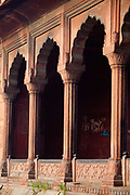 A detail of columns at the Jama Masjid (The Friday Mosque), Old Delhi, India.