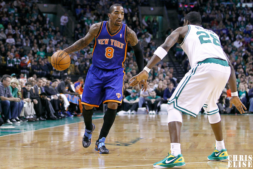 04 March 2012: Boston Celtics small forward Mickael Pietrus (28) defends on New York Knicks shooting guard J.R. Smith (8) during the Boston Celtics 115-111 (OT) victory over the New York Knicks at the TD Garden, Boston, Massachusetts, USA.