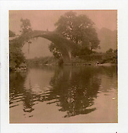 Polaroid chocolate 80. Landscape picture of a bridge and an old big tree. The arch cross over a bucolic calm river. There's a man silhouette walking and crossing the bridge. Guangxi province, China, Asia.