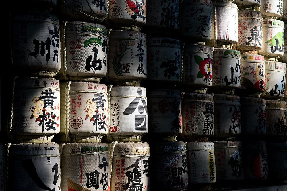 Empty Sake barrel at the Meiji Shrine.