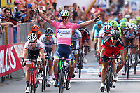 Arrival, Michael MATTHEWS (Aus) Orica GreenEdge, Pink Leader Jersey, winner, Fabio Felline (Ita),  Philippe Gilbert (Bel) BMC, during the Giro d'Italia 2015, Stage 3, Rapallo - Sestri Levante (136Km) on May 11, 2015. Photo Tim de Waele / DPPI
