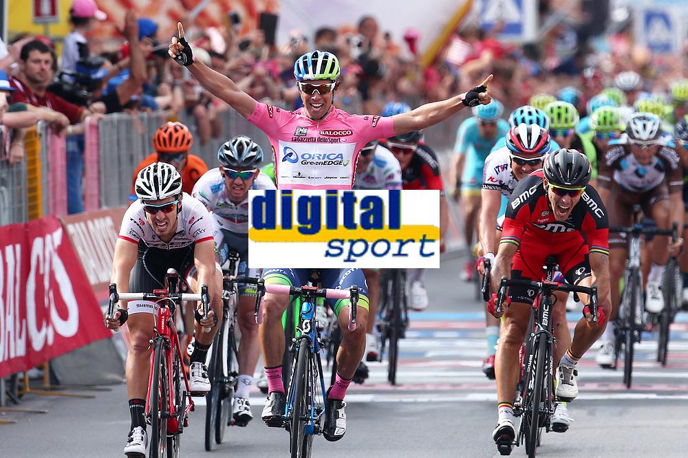 Arrival, Michael MATTHEWS (Aus) Orica GreenEdge, Pink Leader Jersey, winner, Fabio Felline (Ita),  Philippe Gilbert (Bel) BMC, during the Giro d'Italia 2015, Stage 3, Rapallo - Sestri Levante (136Km) on May 11, 2015. Photo Tim de Waele / DPPI