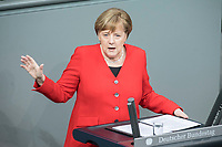 21 MAR 2019, BERLIN/GERMANY:<br /> Angela Merkel, CDU Bundeskanzlerin, waehrend einer  Regierungserklaerung zum Europaeischen Rat, Plenum, Deutscher Bundestag<br /> IMAGE: 20190321-01-029