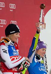 20.12.2011, Hermann Maier Piste, Flachau, AUT, FIS Weltcup Ski Alpin, Damen, Slalom Podium, im Bild Marlies Schild (AUT, Rang 1) und  Tina Maze (SLO, Rang 3) // first place Marlies Schild of Austria, dirt place Tina Maze of Slovenia, on Podium Slalom at FIS Ski Alpine Worldcup at Hermann Maier Pist in Flachau, Austria on 2011/12/20. EXPA Pictures © 2011, PhotoCredit: EXPA/ Johann Groder