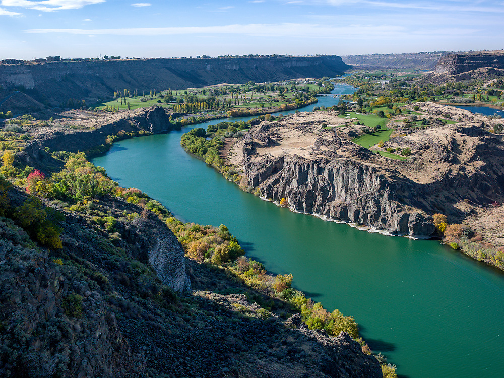 Licensing - Open Edition Prints<br /> The Snake River view from near the Perrine Bridge in Twin Falls Idaho creates a playground paradise with boating, golfing, fishing, rock climbing, base jumping and many more outdoor activities.