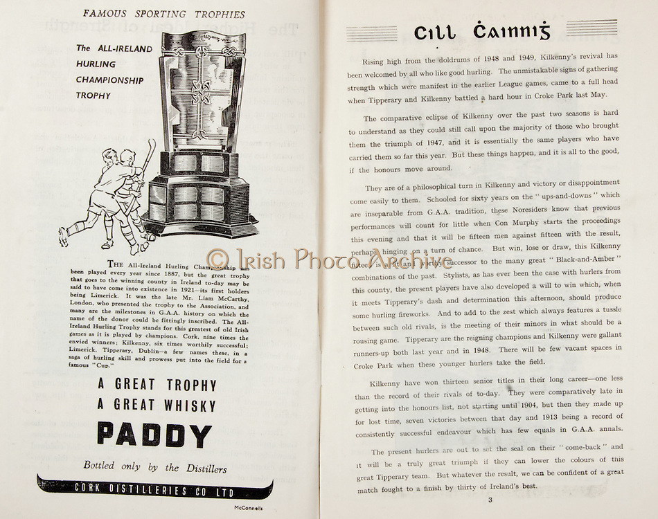 All Ireland Senior Hurling Championship Final,.Brochures,.03.09.1950, 09.03.1950, 3rd September 1950, .Tipperary 1-9, Kilkenny 1-8, .Minor Tipperary v Kilkenny,.Senior Tipperary v Kilkenny, .Croke Park, ..Advertisements, Paddy Whisky Cork Distilleries Co Ltd, ..Articles, Cill Cainnis,