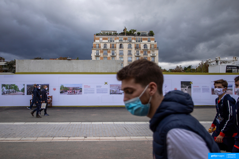 PARIS, FRANCE October 03. Spectators move between courts during the French Open Tennis Tournament at Roland Garros on October 3rd 2020 in Paris, France. (Photo by Tim Clayton/Corbis via Getty Images)