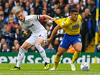 Leeds United's Liam Cooper vies for possession with Birmingham City's Che Adams<br /> <br /> Photographer Alex Dodd/CameraSport<br /> <br /> The EFL Sky Bet Championship - Leeds United v Birmingham City - Saturday 22 September 2018 - Elland Road - Leeds<br /> <br /> World Copyright © 2018 CameraSport. All rights reserved. 43 Linden Ave. Countesthorpe. Leicester. England. LE8 5PG - Tel: +44 (0) 116 277 4147 - admin@camerasport.com - www.camerasport.com