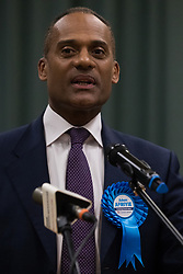 Maidenhead, UK. 13 December, 2019. Conservative candidate Adam Afriyie makes a speech after being re-elected as the Member of Parliament for the Windsor constituency.