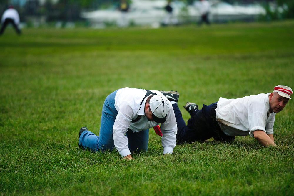 """(Photo by Matt Roth)..The Pittsburgh Franklins first base man Jason """"Sonny"""" Schieble.The Talbot Fair Play striker Brett """"Jailer"""" Cover, ..The Pittsburgh Franklins played the Talbot Fair Play with 1864 rules during the Washington D.C. Vintage Base Ball Classic Sunday, August 2, 2009. After six innings, with the Fair Play leading 17-11, the game was called due to rain. The rain caused the D.C. Parks and Rec department to pull the field permits and the finals were cancelled."""