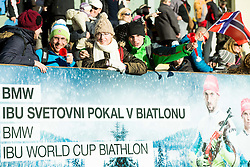 Norwegian fans during Men 12,5 km Pursuit at day 3 of IBU Biathlon World Cup 2014/2015 Pokljuka, on December 20, 2014 in Rudno polje, Pokljuka, Slovenia. Photo by Vid Ponikvar / Sportida