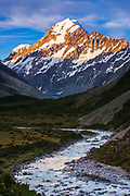 Evening light on Mount Cook above the Hooker River, Aoraki Mount Cook National Park, South Island, New Zealand