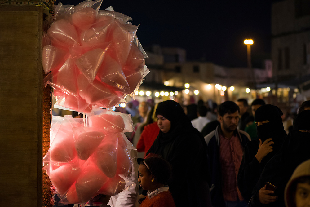 Bags of cotton candy are for sale in the bustling pedestrian area of Souq Waqif in Doha, Qatar