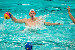 Robin Lindhout of the Netherlands in action against Romania during the Olympic qualifying tournament. The Dutch water polo players are on the hunt for a starting ticket for the Olympic Games on February 16, 2021 in Rotterdam