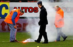 12.03.2011, Stade du Pays, Charleroi , BEL, JL,  Sporting Charleroi vs Standard Liège, im Bild Charleroi 's supporters trow fire cracker on the pitch  during Jupiler Pro League Season 2010 - 2011 soccer match R Charleroi SC and  Standard. Saterday Mar. 12, 2011.  EXPA Pictures © 2011, PhotoCredit: EXPA/ nph/  Alain Sprimont       ****** out of GER / SWE / CRO  / BEL ******