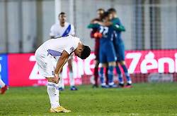 Dimitris Limnios of Greece  looks dejected after the football match between National teams of Greece and Slovenia in Final tournament of Group Stage of UEFA Nations League 2020, on November 18, 2020 in Georgios Kamaras Stadium, Athens, Greece. Photo by MATTHAIOS YORGOS / INTIME SPORTS / SPORTIDA