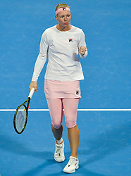 DOHA, Feb. 13, 2019  Kiki Bertens of the Netherlands reacts during the women's singles first round match between Kiki Bertens of the Netherlands and Camila Giorgi of Italy at the 2019 WTA Qatar Open in Doha, Qatar, on Feb. 12, 2019. Kiki Bertens won 2-1. (Credit Image: © Nikku/Xinhua via ZUMA Wire)