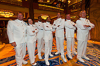 Officers in dress white uniforms, Disney Dream cruise ship sailing between Florida and the Bahamas