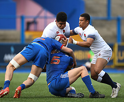 Englands Rus Tuima <br /> Photographer Mike Jones/Replay Images<br /> <br /> England U18s v France U18s<br /> Six Nations, Sunday 8th April 2018, <br /> Cardiff Arms Park, Cardiff, <br /> <br /> World Copyright © Replay Images . All rights reserved. info@replayimages.co.uk - http://replayimages.co.uk