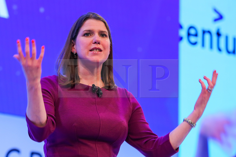 © Licensed to London News Pictures. 18/11/2019. London, UK. Leader of the Liberal Democrats JO SWINSON makes a keynote speech at the annual CBI (Confederation of British Industry) conference held at Intercontinental Hotel, Greenwich. Photo credit: Dinendra Haria/LNP