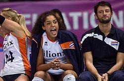 04-01-2016 TUR: European Olympic Qualification Tournament Nederland - Duitsland, Ankara <br /> De Nederlandse volleybalvrouwen hebben de eerste wedstrijd van het olympisch kwalificatietoernooi in Ankara niet kunnen winnen. Duitsland was met 3-2 te sterk (28-26, 22-25, 22-25, 25-20, 11-15) / Celeste Plak #4, Alessandro Bracceschi