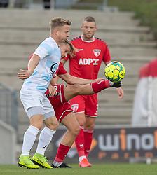 Jeppe Kjær (FC Helsingør) og Mathias Gertsen (FC Fredericia) under kampen i 1. Division mellem FC Fredericia og FC Helsingør den 4. oktober 2020 på Monjasa Park i Fredericia (Foto: Claus Birch).