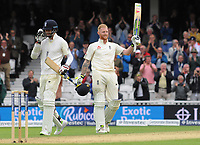 Cricket - 2017 South Africa Tour of England - Third Test, Day Two<br /> <br /> Ben Stokes of England celebrates his century with Jimmy Anderson (left) who managed to stay in long enough for him to reach his 100 during the afternoon session, at The Oval.<br /> <br /> COLORSPORT/ANDREW COWIE