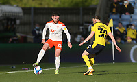 Blackpool's Oliver Turton and Oxford United's Brandon Barker<br /> <br /> Photographer Rob Newell/CameraSport<br /> <br /> Sky Bet League One Play-Off Semi-Final 1st Leg - Oxford United v Blackpool - Tuesday 18th May 2021 - Kassam Stadium - Oxford<br /> <br /> World Copyright © 2021 CameraSport. All rights reserved. 43 Linden Ave. Countesthorpe. Leicester. England. LE8 5PG - Tel: +44 (0) 116 277 4147 - admin@camerasport.com - www.camerasport.com