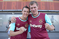 two West Ham United fans outside Emirates Stadium before k/o. Barclays Premier League, Arsenal v West Ham Utd at the Emirates Stadium in London on Sunday 9th August 2015.<br /> pic by John Patrick Fletcher, Andrew Orchard sports photography.