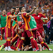 Galatasaray's players celebrate victory during their Turkish Super League derby match Galatasaray between Besiktas at the AliSamiYen Spor Kompleksi TT Arena at Seyrantepe in Istanbul Turkey on Sunday, 24 May 2015. Photo by Aykut AKICI/TURKPIX